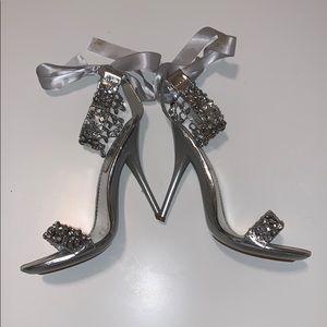 Fredericks of Hollywood Silver Jem Heels
